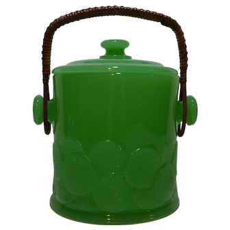 Fenton Jade Big Cookies Covered Jar