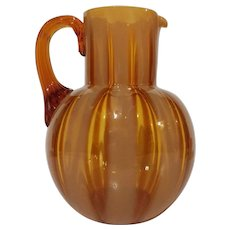 Amber Opalescent Wide Stripe Pitcher