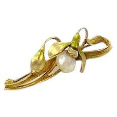 Krementz 14K Gold & Enamel Art Nouveau Pin, Snow Drop Flower, 1900s