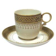 Royal Worcestor Demitasse Cup and Saucer, Brown & Gold, Caldwell of Philadelphia, 1901