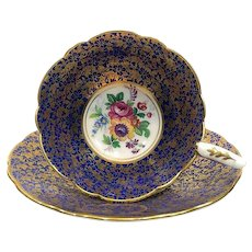 Royal Stafford Tea Cup and Saucer, Cobalt & Gold Foliate Chintz, 1950s