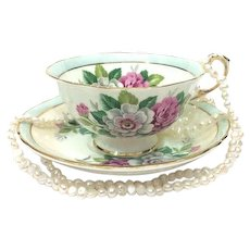 Paragon Tea Cup & Saucer, Pink White Roses, 1950s