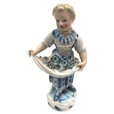 Meissen Flower Seller Woman Figurine, Blue & White, 19th Century