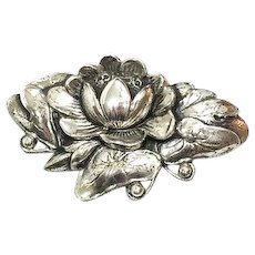 Sterling Silver Danecraft Water Lily Brooch, Art Nouveau Style, 1940s