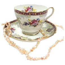 Shelley Georgian Tea Cup & Saucer, Gainsborough Shape, English Bone China