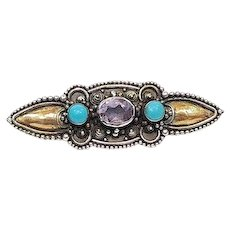 Small Gold Washed Sterling Silver Gemstone Pin, Amethyst & Turquoise, Victorian Style