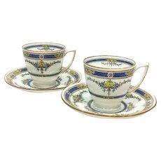 Pair Minton Demitasse Cups Saucers, Art Deco Princess Pattern, 1920s