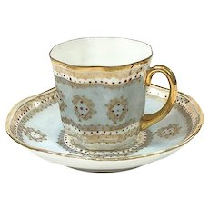 Antique Jeweled Demitasse Cup & Saucer, Light Blue & Gold