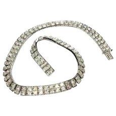 Art Deco Style Crystal Collar Necklace, Channel Set Rhinestones Rhodium Silver