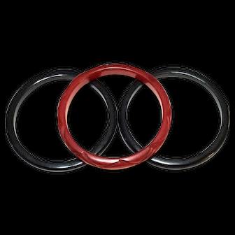 Red & Black Bakelite Bangles, Set of Three, Art Deco Retro Style