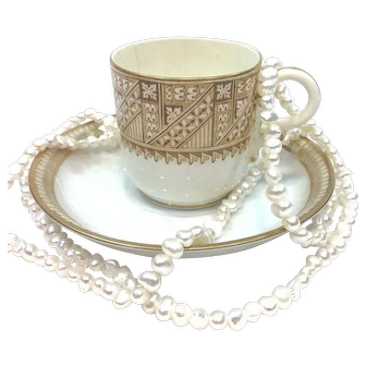Antique Royal Worcestor Married Demitasse Cup & Saucer, Aesthetic Era, French Abrams 1880s
