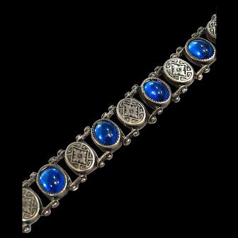 Antique Sterling Silver Blue Glass Link Bracelet, Signed JHP, Victorian Edwardian 1900s