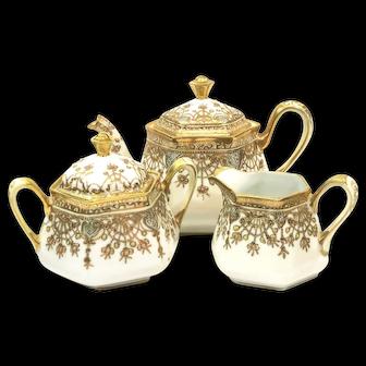 Antique Nippon Hand Painted Moriage Tea Set, Teapot Sugar Creamer, Maple Leaf Mark