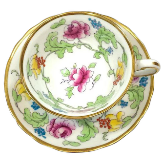 Royal Chelsea English Tea Cup & Saucer, Persian Rose Enamel Pattern, 1970s