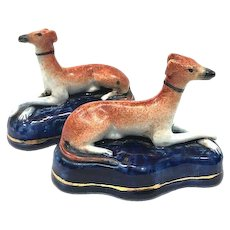 Pair 19th Century Staffordshire Greyhound Whippet Dog Figurines