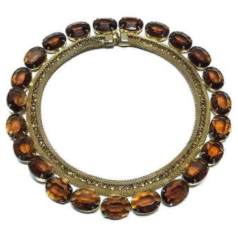 Mid Century Crystal & Gold Mesh Collar Necklace, Large Whiskey Oval Stones