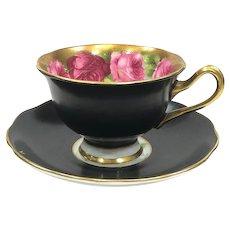 Royal Albert Old English Roses Tea Cup & Saucer, Matte Black 1940s English Bone China