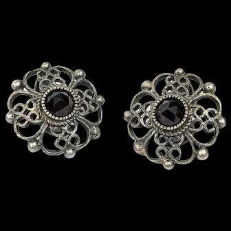 Small 835 Silver & Garnet Earrings, Clip On Art Nouveau Style, Hallmarked