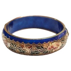 Chinese Export Champleve Enamel Bangle, Hinged Cloisonne Bracelet, Floral Design, 1940s