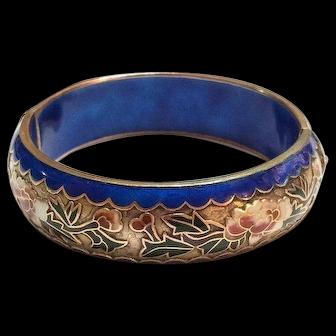 Chinese Export Champleve Enamel Bangle, Hinged Cloisonne Bracelet, Floral Design, 1940s