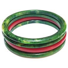 Four Thin Bakelite Bangles, Spinach Green & Cherry Red, Retro Bracelets