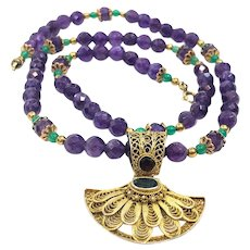 Beaded Amethyst Necklace with Vermeil Fan Pendant, Sterling Silver Emerald & Chrysoprase