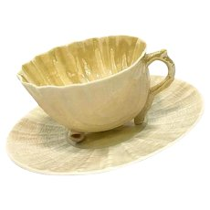 Belleek Neptune Tea Cup & Saucer, Light Yellow Luster, 6th Mark 1965 - 1980