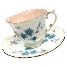 Aynsley Art Deco Tea Cup & Saucer, Teal Blue Flowers & Peach Teacup, 1930s