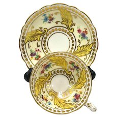 Star Paragon Tea Cup & Saucer, Gold & Yellow Cup with Leaves Flowers