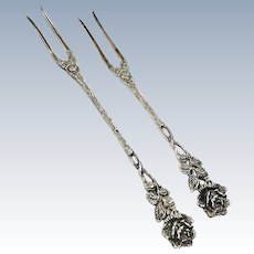 Two Hildesheim Rose Cocktail Forks, German 835 Silver, Signed A. Bach
