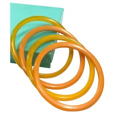 Four Butterscotch Bakelite Bangles, Thin Stacking Bracelets