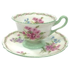 Shelley Gainsborough Demitasse Cup, Stocks Pattern with Green Rims