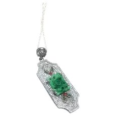 Art Deco Rhodium Filigree Pendant Necklace, Czech Glass & Enamel, 1920s