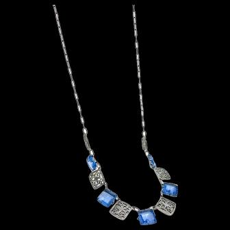 Art Deco Crystal & Rhodium Filigree Necklace, Princess Cut Blue Crystals, 1920s