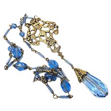 Art Deco Blue Crystal Lavalier Necklace, Brass Art Nouveau Pendant, 1920s