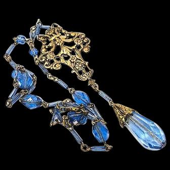 Art Deco Blue Crystal Lavalier Necklace, Brass Art Nouveau Pendant, 1920s