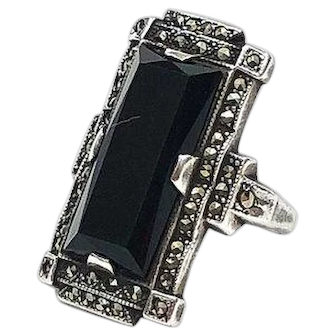 Art Deco Sterling Silver Onyx & Marcasite Ring, Elongated Signed Uncas,