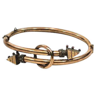 Small Victorian Gold Filled Bypass Bangle Bracelet, Etruscan Revival