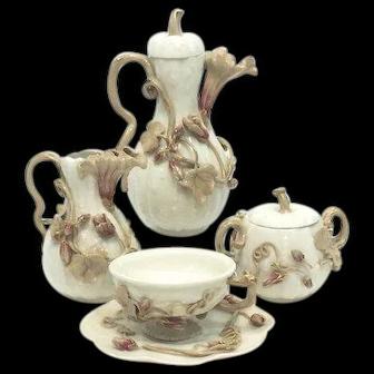 Antique 19th Century Arts & Crafts Tea Set, Teapot Creamer Sugar & Tea Cup