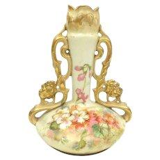 Ernst Wahliss Turn Vienna Double Handled Vase, 1900s Art Nouveau Porcelain