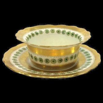 George Jones Gilded Ramekin or Mayonnaise Dish & Underplate, 1893 to 1921