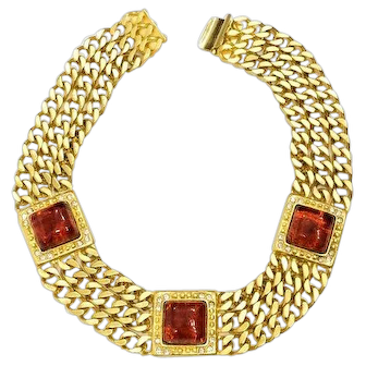 Roxanne Assoulin Multistrand Gold Plated Chain Choker Necklace, Amber Glass Cabochons