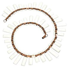 Matisse White Enamel & Copper Cleopatra Collar Necklace