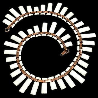 Matisse White Enamel & Copper Cleopatra Collar Necklace