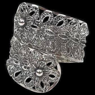 Vargas Silvertone Filigree Bypass Cuff Bracelet