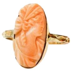 14K Gold Coral Cameo Ring,  J. R. Wood & Sons Art Carved Hallmark, 1920s