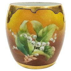 T&V Limoges Hand Painted Biscuit Jar, Lily of Valley, Pickard Style Robert France Studio 1910s