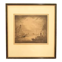 "Joseph Guerin Etching ""Dawn on the East River"" 1936"