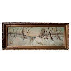 Vintage Oil of Sheepherder in the Snow