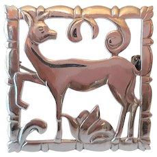 Sterling Silver English Deer Pin
